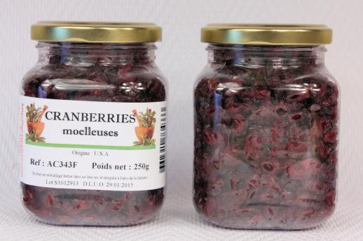 Cranberries moelleuses en pot PET 390ml de 250 grammes